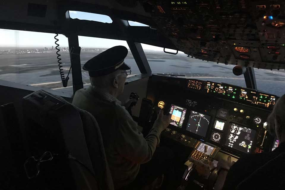 Care home residents reach for the sky in flight simulator